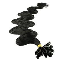 "22"" Jet Black (#1) 50S Wavy Nail Tip Human Hair Extensions"