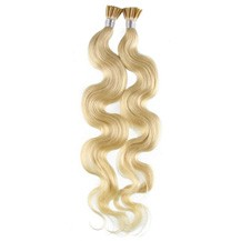 """22"""" White Blonde (#60) 100S Wavy Stick Tip Human Hair Extensions"""
