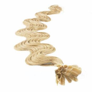 """24"""" Ash Blonde (#24) 100S Wavy Nail Tip Human Hair Extensions"""