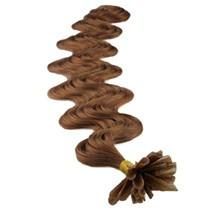 """24"""" Ash Brown (#8) 100S Wavy Nail Tip Human Hair Extensions"""
