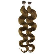 """24"""" Ash Brown (#8) 100S Wavy Stick Tip Human Hair Extensions"""