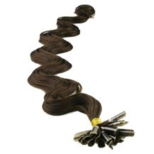 "24"" Dark Brown (#2) 50S Wavy Nail Tip Human Hair Extensions"