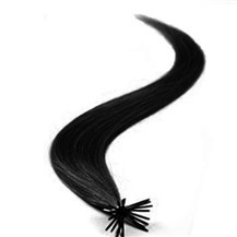 "24"" Jet Black (#1) 100S Stick Tip Human Hair Extensions"