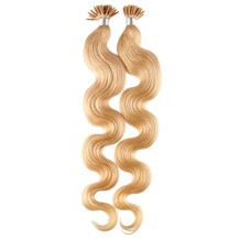 """24"""" Strawberry Blonde (#27) 100S Wavy Stick Tip Human Hair Extensions"""