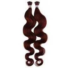 "24"" Vibrant Auburn (#33) 100S Wavy Stick Tip Human Hair Extensions"