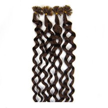 """28"""" Chocolate Brown (#4) 50S Curly Nail Tip Human Hair Extensions"""