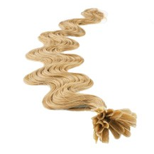 """28"""" Strawberry Blonde (#27) 100S Wavy Nail Tip Human Hair Extensions"""