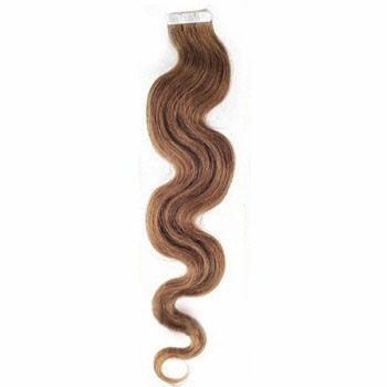 "16"" Ash Brown (#8) 20pcs Wavy Tape In Remy Human Hair Extensions"