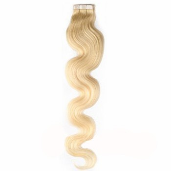 """16"""" Bleach Blonde (#613) 20pcs Wavy Tape In Remy Human Hair Extensions"""