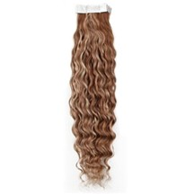 "16"" Brown Blonde (#4-27) 20pcs Curly Tape In Remy Human Hair Extensions"