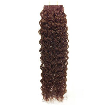 "16"" Chestnut Brown (#6) 20pcs Curly Tape In Remy Human Hair Extensions"