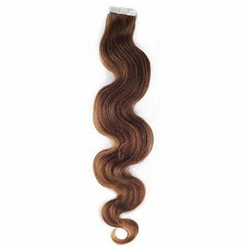"""16"""" Chestnut Brown (#6) 20pcs Wavy Tape In Remy Human Hair Extensions"""