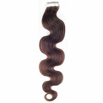 """16"""" Chocolate Brown (#4) 20pcs Wavy Tape In Remy Human Hair Extensions"""