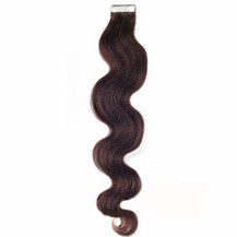 "16"" Dark Brown (#2) 20pcs Wavy Tape In Remy Human Hair Extensions"