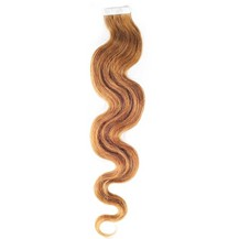 """16"""" Golden Brown (#12) 20pcs Wavy Tape In Remy Human Hair Extensions"""