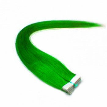 "16"" Green 20pcs Tape In Remy Human Hair Extensions"