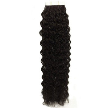"16"" Off Black (#1b) 20pcs Curly Tape In Remy Human Hair Extensions"