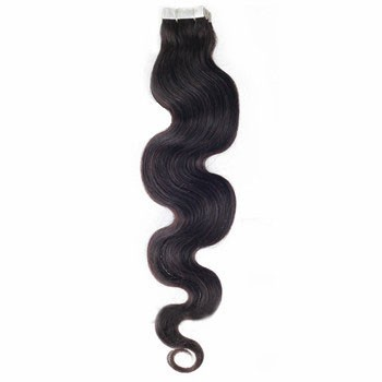 "16"" Off Black (#1b) 20pcs Wavy Tape In Remy Human Hair Extensions"