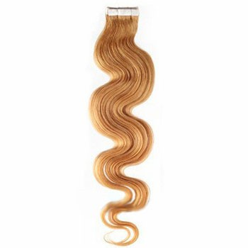"16"" Strawberry Blonde (#27) 20pcs Wavy Tape In Remy Human Hair Extensions"