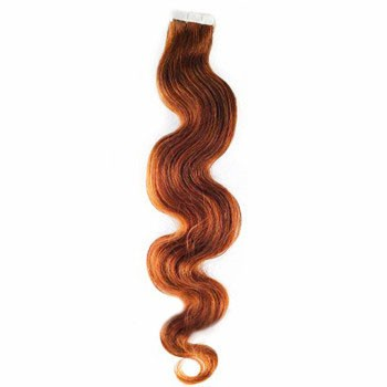 "16"" Vibrant Auburn (#33) 20pcs Wavy Tape In Remy Human Hair Extensions"