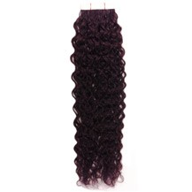 "18"" 99J 20pcs Curly Tape In Remy Human Hair Extensions"