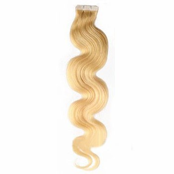 "18"" Ash Blonde (#24) 20pcs Wavy Tape In Remy Human Hair Extensions"