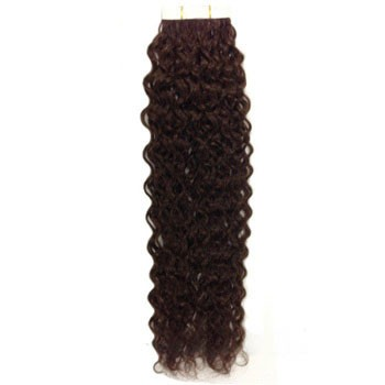 """18"""" Dark Brown (#2) 20pcs Curly Tape In Remy Human Hair Extensions"""