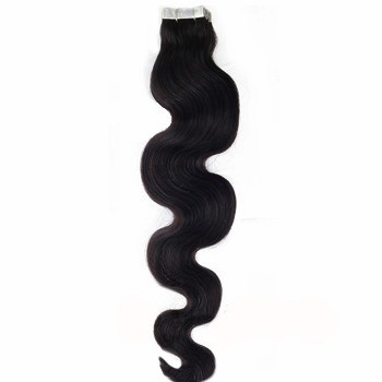 "18"" Jet Black (#1) 20pcs Wavy Tape In Remy Human Hair Extensions"
