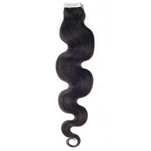 "18"" Off Black (#1b) 20pcs Wavy Tape In Remy Human Hair Extensions"
