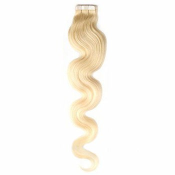 "18"" White Blonde (#60) 20pcs Wavy Tape In Remy Human Hair Extensions"