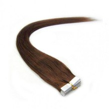 "20"" Chestnut Brown (#6) 20pcs Tape In Remy Human Hair Extensions"