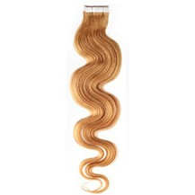 "20"" Strawberry Blonde (#27) 20pcs Wavy Tape In Remy Human Hair Extensions"