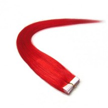"22"" Red 20pcs Tape In Remy Human Hair Extensions"