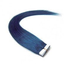 "24"" Blue 20pcs Tape In Remy Human Hair Extensions"