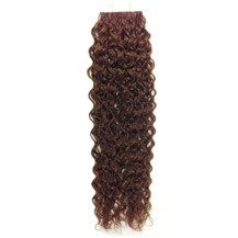 "24"" Chestnut Brown (#6) 20pcs Curly Tape In Remy Human Hair Extensions"
