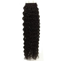 "26"" Off Black (#1b) 20pcs Curly Tape In Remy Human Hair Extensions"