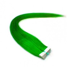 "28"" Green 20pcs Tape In Remy Human Hair Extensions"