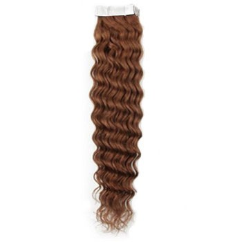 """28"""" Light Brown (#10) 20pcs Curly Tape In Remy Human Hair Extensions"""