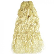 "16"" Bleach Blonde (#613) Curly Indian Remy Hair Wefts"