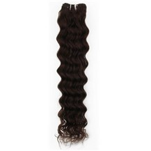 "16"" Dark Brown (#2) Deep Wave Indian Remy Hair Wefts"