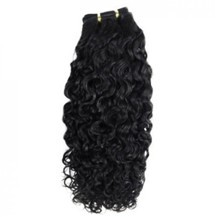 "16"" Jet Black (#1) Curly Indian Remy Hair Wefts"