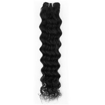 "16"" Jet Black (#1) Deep Wave Indian Remy Hair Wefts"