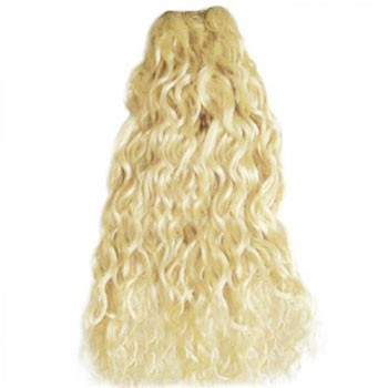 """18"""" Bleach Blonde (#613) Curly Indian Remy Hair Wefts"""
