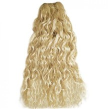"20"" White Blonde (#60) Curly Indian Remy Hair Wefts"