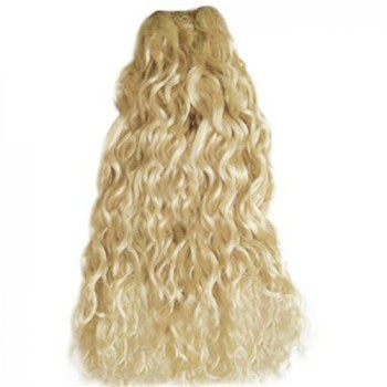 """22"""" White Blonde (#60) Curly Indian Remy Hair Wefts"""
