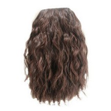 Fluffy Wavy Oblique Bang Deep Chestnut Brown 1 Piece