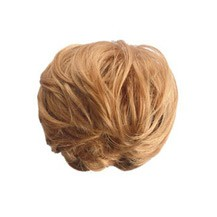 Fluffy Slightly Curled Bud Bun Golden Blonde 1 Piece