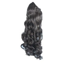 Claw Clip-on Fluffy Long Ponytail Black 1 Piece
